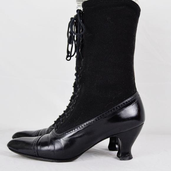 19bc22d690c Victorian Edwardian Style Granny Louis Heel Boots